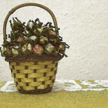 καλάθι με λουλούδια, φωτογραφία νεκρής φύσης