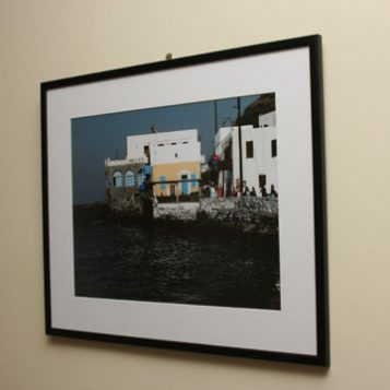 Framed with gallery mat and wooden frame